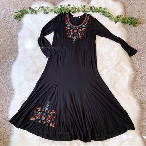 Soft Surroundings Dresses - Soft Surroundings Black Embroidered Maxi Dress